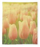 Pink Tulip Flowers In The Garden On Sunny Day In Spring Fleece Blanket