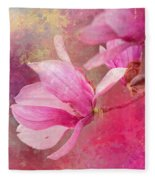 Pink Tulip Magnolia In Spring Fleece Blanket