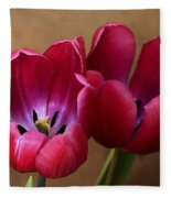 Pink Tulip Pair Fleece Blanket