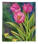 Pink Tulip Twist Fleece Blanket