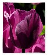 Pink Tulip Watercolor Fleece Blanket