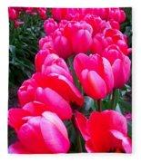 Pink Tulips Fleece Blanket