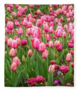 Pink Tulips At Floriade In Canberra, Australia Fleece Blanket