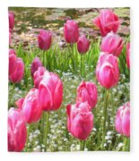 Pink Tulips By Peaceful Pond Fleece Blanket