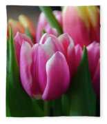 Pink Tulips Fleece Blanket