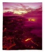 Pink Volcano Sunrise Fleece Blanket