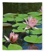 Pink Water Lilies Fleece Blanket
