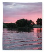 Pink Waves Sunset Fleece Blanket