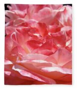 Pink White Roses Floral Art Prints Rose Baslee Troutman Fleece Blanket