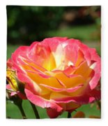 Pink Yellow Roses 3 Summer Rose Garden Giclee Art Prints Baslee Troutman Fleece Blanket