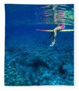 Pink & Yellow Surfboard Fleece Blanket