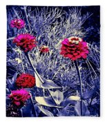 Pink Zinnia's Against A Silver Background Fleece Blanket