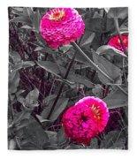 Pink Zinnias Against Grey Background Fleece Blanket
