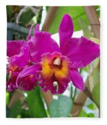 Pinkishyellow Orchid Fleece Blanket
