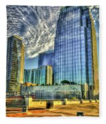 Pinnacle Building Sunset Nashville Shadows Nashville Tennessee Art Fleece Blanket