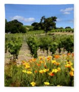 Pinot Noir And Poppies Fleece Blanket