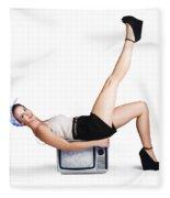 Pinup Girl Balancing On Television Set Fleece Blanket