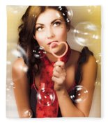 Pinup Girl Blowing Love Kiss. American Retro Style Fleece Blanket