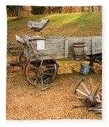 Pioneer Wagon And Broken Wheel Fleece Blanket