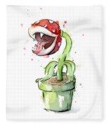 Piranha Plant Watercolor Fleece Blanket