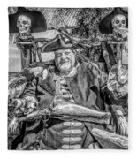 Pirate Captain And Parrots Black And White Fleece Blanket