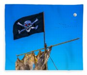 Pirate Flag And Moon Fleece Blanket
