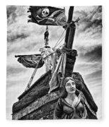 Pirate Ship And Black Flag Fleece Blanket