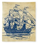 Pirate Ship Artwork - Vintage Fleece Blanket