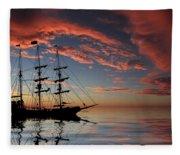 Pirate Ship At Sunset Fleece Blanket
