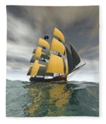 Pirate Ship On The High Seas Fleece Blanket