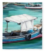 Pirogue Fishing Boat  Fleece Blanket