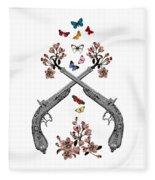 Pistols Wit Flowers And Butterflies Fleece Blanket