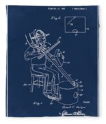 Pitch Fork Fiddle And Drum Patent 1936 - Blue Fleece Blanket