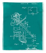Pitch Fork Fiddle And Drum Patent 1936 - Green Fleece Blanket