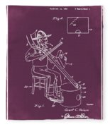 Pitch Fork Fiddle And Drum Patent 1936 - Red Fleece Blanket