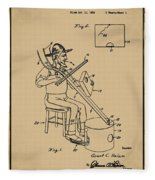 Pitch Fork Fiddle And Drum Patent 1936 - Sepia Fleece Blanket