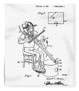 Pitch Fork Fiddle And Drum Patent 1936 - White Fleece Blanket
