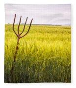 Pitch Fork In Wheat Field Fleece Blanket