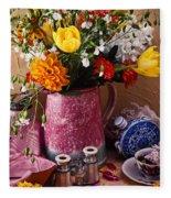 Pitcher Of Flowers Still Life Fleece Blanket