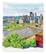 Pittsburgh Aerial View Fleece Blanket