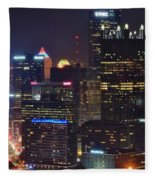 Pittsburgh Close Up From Above Fleece Blanket