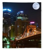 Pittsburgh Full Moon Panoramic Fleece Blanket