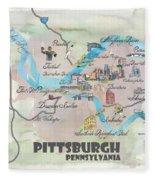 Pittsburgh Pennsylvania Fine Art Print Retro Vintage Map With Touristic Highlights Fleece Blanket