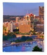 Pittsburgh Pennsylvania Skyline At Dusk Sunset Panorama Fleece Blanket