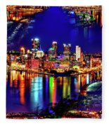 Pittsburgh Skyline Art Fleece Blanket