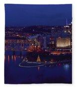 Pittsburgh Skyline At Night Christmas Time Fleece Blanket