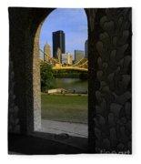 Pittsburgh Skyline, North Shore Arch, Pittsburgh, Pa  Fleece Blanket