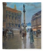 Place De L Opera In Paris Fleece Blanket