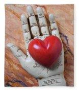 Plam Reader Hand Holding Red Stone Heart Fleece Blanket