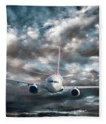 Plane In Storm Fleece Blanket